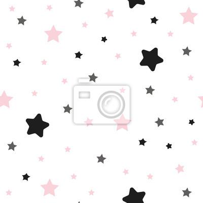 Fototapete Nettes nahtloses Muster mit den rosa und schwarzen Sternen.