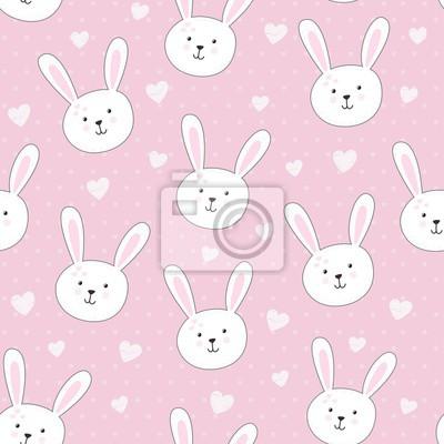 Nettes nahtloses Muster mit Kaninchen im kindischen Stil