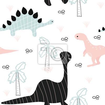 Fototapete Nettes nahtloses Muster mit kleinen Dinosauriern und Palme. Gezeichnete Illustration des Vektors Hand.