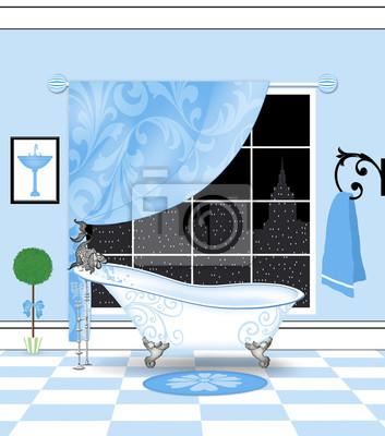 Nettes puder-blaues badezimmer mit weinlese-greifer-fuß-badewanne ...