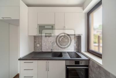 Fototapete Neue Moderne Und Leere Weiße Küche. Neues Zuhause.  Innenarchitektur