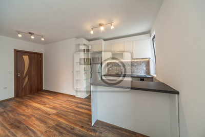 Fototapete: Neue moderne weiße küche. neues zuhause. innenarchitektur  holzboden.