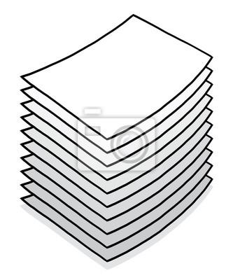 Fototapete Neue Papier Stapel / Cartoon Vektor und Illustration, Hand gezeichnet Stil, Graustufen, isoliert auf weißem Hintergrund.