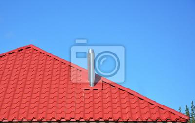 Fototapete Neue Rote Ziegeldach Mit Metall Schornstein Haus Dachkonstruktion
