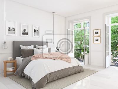 Neues modernes schlafzimmer in einer wohnung. 3d-rendering ...