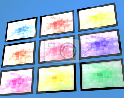 Fototapete Neun TV Monitore Wall Mounted In verschiedenen Farben, die H