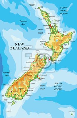 Neuseeland Physische Karte Fototapete Fototapeten Christchurch