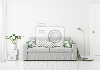 Fototapete Neutral Wohnzimmer Innenraum Mit Stoff Sofa, Kissen Und Plaid  Auf Klaren Weißen Wand Hintergrund