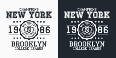 Fototapete New York, Brooklyn typography for design clothes. Graphics for print product, t-shirt with grunge, vintage sport apparel. Champions of college league. Vector illustration.