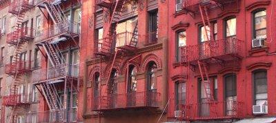 Fototapete New York City / Feuerleiter