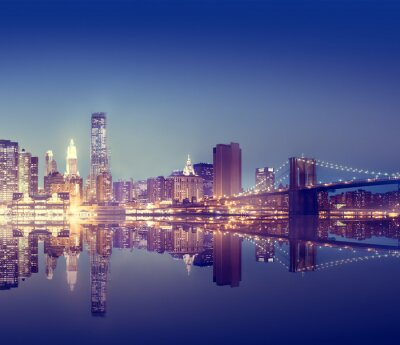 Fototapete New York City Lights Scenic Bridge View Concept