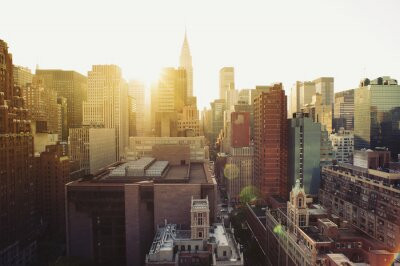 Fototapete New York City Manhattan Skyline bei Sonnenschein.