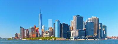 Fototapete New York City Manhattan Wall Street Finanzbezirk Gebäude Skyline an einem schönen Sommertag mit blauem Himmel