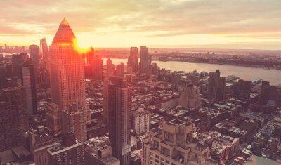 Fototapete New York City Skyline bei Sonnenuntergang