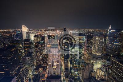New York Nacht Skyline von der Oberseite des Felsens