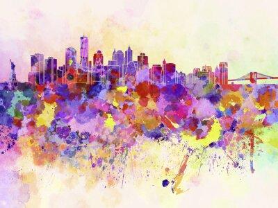 Fototapete New York skyline in watercolor background