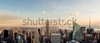 Fototapete New York Skyline, mit Blick auf die Innenstadt von Manhattan. Panoramabild.