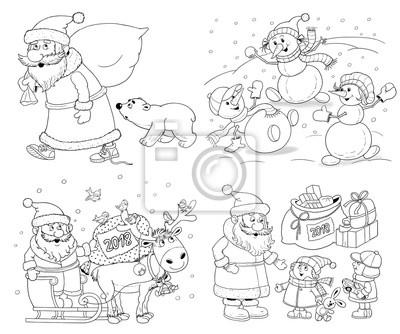 Ney Jahr Weihnachten Malvorlage Illustration Für Kinder Nette