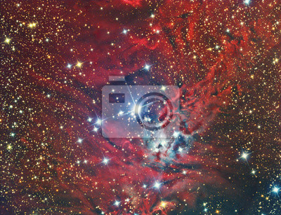 NGC 2264 Weihnachtsbaum-Cluster und Nebelfleck abgebildet mit einem Teleskop und einer wissenschaftlichen CCD-Kamera