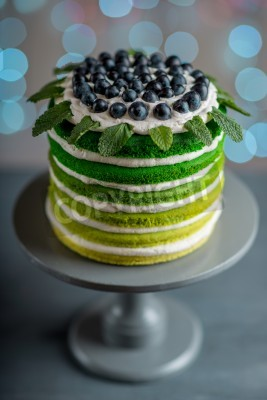 Fototapete Nice Sponge Happy Birthday Cake With Mascarpone And Grapes On The Stand Festive