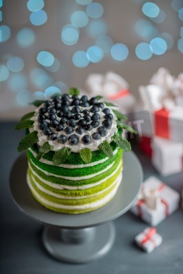 Fototapete Nice Sponge Happy Birthday Cake With Mascarpone And Grapes On The Stand