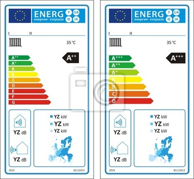 Niedertemperatur-wärmepumpen neue energie rating-diagramm label ...