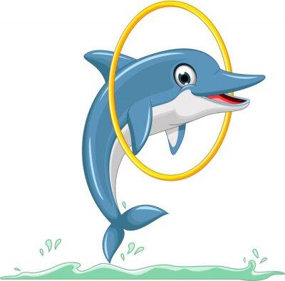 Fototapete niedlichen Cartoon dolphin jumping