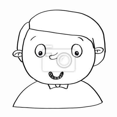 Niedlichen cartoon illusration junge porträt färbung fototapete ...