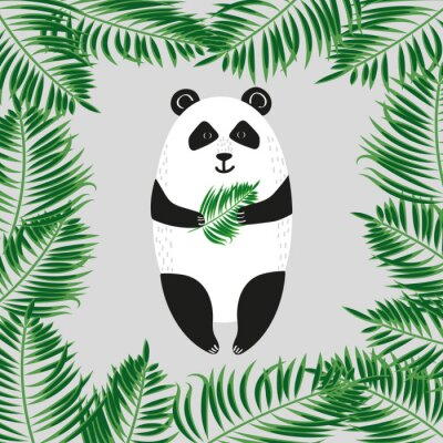 Fototapete Niedlicher Pandabär. Abbildung.