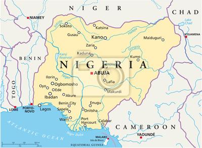 nigeria karte Nigeria karte (nigeria landkarte) fototapete • fototapeten Weste