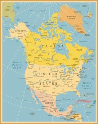 Fototapete Nordamerika Detaillierte Karte Jahrgang Farben