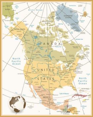 Fototapete Nordamerika Detaillierte Karte Retro Farben