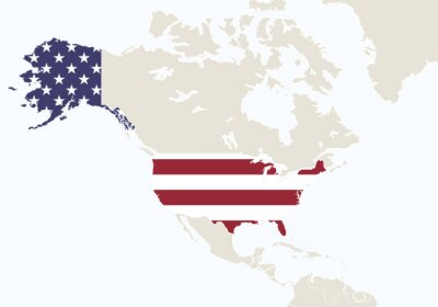 Fototapete Nordamerika mit hervorgehobenen USA-Karte.