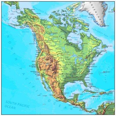 Fototapete Nordamerika physische Kontinent Karte