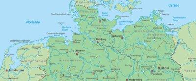 Karte Norddeutschland Ostseekuste.Fototapete Norddeutschland Landkarte Von Nord Und Ostsee