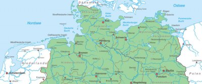 Norddeutschland Karte.Fototapete Norddeutschland Nord Und Ostsee Landkarte