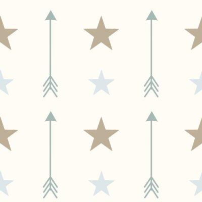 Fototapete Nordic style Farben Pfeile und Sterne nahtlose Vektor-Muster Hintergrund Illustration