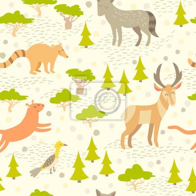 North American süße Tiere nahtlose Muster für Kinder. Wald abstrakte Karte mit Tieren: Wolf, Antilope, Cougar, Nosuh, Vogel auf farbigem hellem Hintergrund