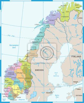 Karte Norwegen.Fototapete Norwegen Karte Vektor Illustration