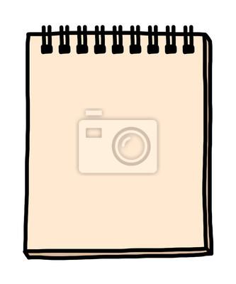 Fototapete Notizbuch / Karikaturvektor und -illustration, Hand gezeichnete Art, lokalisiert auf weißem Hintergrund.