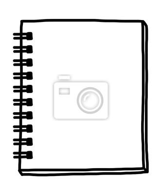 Fototapete Notizbuch / Karikaturvektor und Illustration, Schwarzweiss, Hand gezeichnet, Skizzenart, lokalisiert auf weißem Hintergrund.