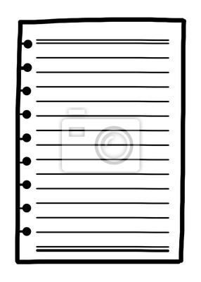 Fototapete Notizbuch Papier / Cartoon Vektor und Illustration, schwarz und weiß, Hand gezeichnet, Skizze Stil, isoliert auf weißem Hintergrund.