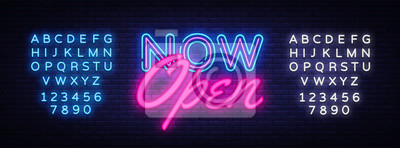 Fototapete Now Open neon text vector design template. Now Open neon logo, light banner design element colorful modern design trend, night bright advertising, bright sign. Vector. Editing text neon sign