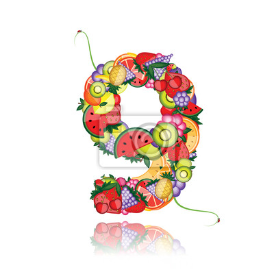 Number nine hergestellt aus Früchten. Sehen Sie andere in meiner Galerie