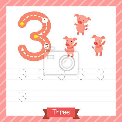 Nummer drei tracing praxis arbeitsblatt mit 3 schweine für kinder ...