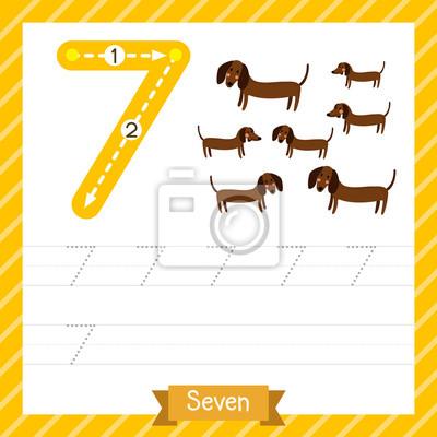 Nummer sieben tracing praxis arbeitsblatt mit 7 hunden für kinder ...
