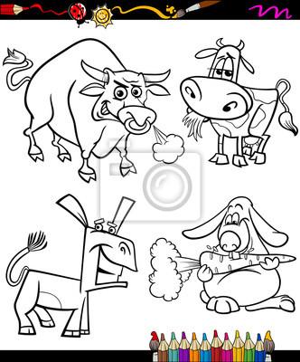 Nutztiere set cartoon-malbuch fototapete • fototapeten Bullock ...