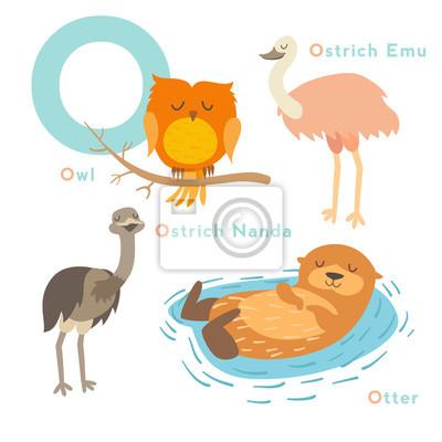 O Brief Tiere gesetzt. Englisches Alphabet. Vektor-Illustration, isoliert auf weißem Hintergrund