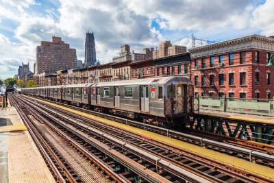 Fototapete Oberirdische U-Bahn in Manhattan, NYC