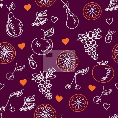 Obst skizziert nahtlose Muster mit Herzen
